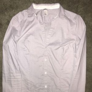 Lavender and white polka dot button up shirt